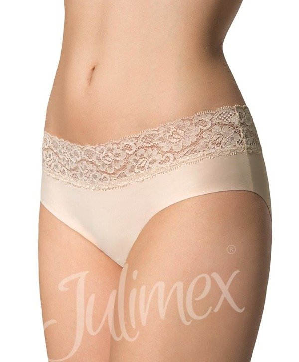 Hipster panties with Julimex lace beige